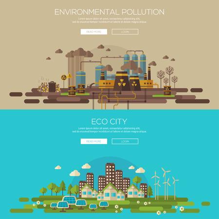 contaminacion ambiental: Ciudad verde del eco con la arquitectura sostenible y la contaminación ambiental por residuos tóxicos fábrica. Ilustración vectorial conjunto de banners. Web banner y el concepto de material promocional. Tecnología Eco. Vectores