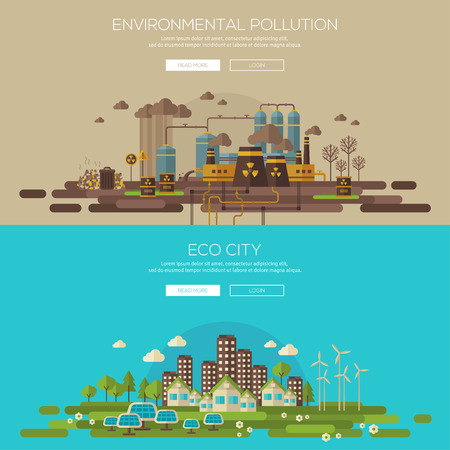 pollution: Green eco city with sustainable architecture and environmental pollution by factory toxic waste. Vector illustration banners set. Web banner and promotional material concept. Eco Technology. Illustration
