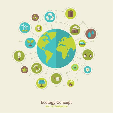 wereldbol: Ecologie netwerkverbinding concept. Vector illustratie. Milieu infographics sjabloon met cirkels en vlakke pictogrammen. Milieubescherming. Natuur en vervuiling. Ga groen. Red de planeet. Stock Illustratie