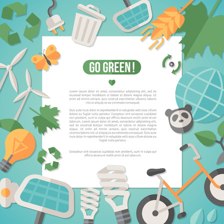 Flat design vector illustration concept for ecology, recycling and green technology. Solar green energy, wind energy. Save the planet concept. Go green. Save the Earth. Earth Day. Vettoriali