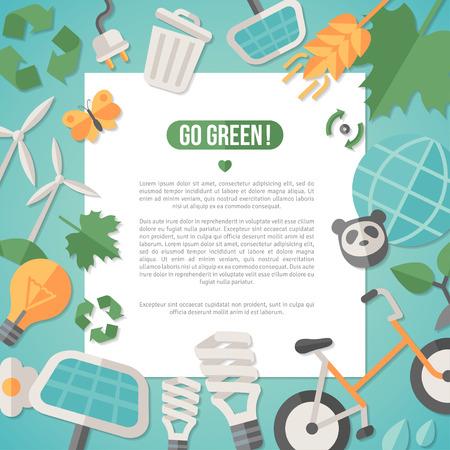 planeta verde: Piso de diseño vectorial Ilustración del concepto de la ecología, el reciclaje y la tecnología verde. Energía verde solar, la energía eólica. Excepto el concepto del planeta. Ir verde. Salvar la Tierra. Día De La Tierra. Vectores