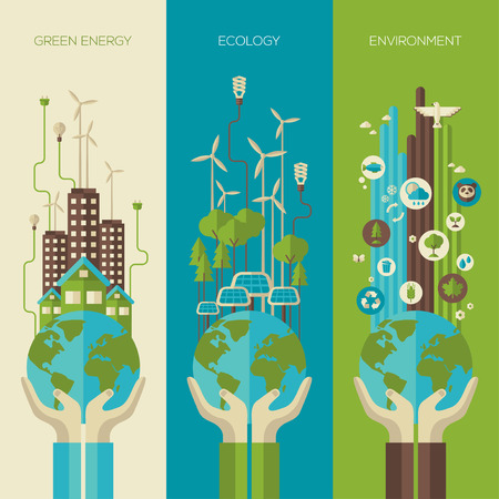 green banner: Environmental protection, ecology concept vertical banners set in flat style. Vector illustration. Hands holding Earth with ecology symbols. Eco-city, green energy, wild nature concept.Solar panels.