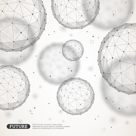 visualization: Wireframe mesh polygonal elements. Spheres with connected lines and dots. Connection Structure. Geometric Modern Technology Concept. Digital Data Visualization.