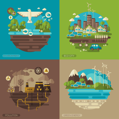 earth pollution: Vector flat design concept illustrations with icons of ecology, environment, green energy and pollution.  Save world. Save the planet. Save the Earth. Creative concept of Eco Technology.