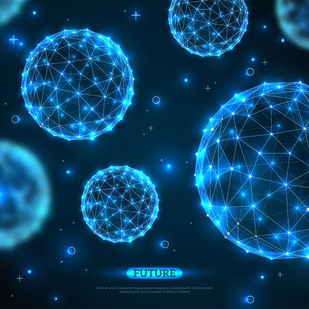 추상적 인 벡터 분야입니다. 미래의 기술 와이어 다각형 요소. 연결 구조. 기하학적 현대 기술 개념. 디지털 데이터 시각화. 과학적 배경 빛나는.