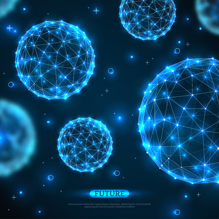 Abstracte vectorgebieden. Futuristische technologie wireframe veelhoekige elementen. Verbindingsstructuur. Geometrisch modern technologieconcept. Visualisatie van digitale gegevens. Glanzende wetenschappelijke achtergrond.