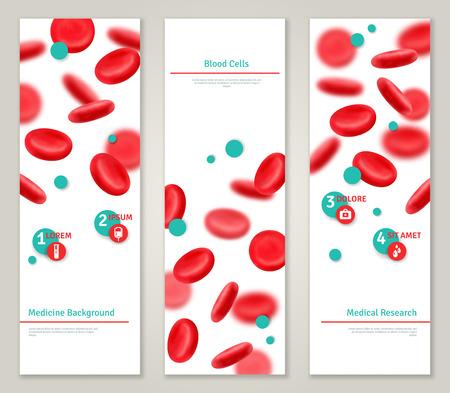 globulo rojo: Células sanguíneas. Banderas concepto médicos fijados. Ilustración del vector. Células naturales realistas brillantes rojos de la sangre. Iconos de donación de sangre. Donantes plantilla día infografía