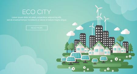 öko: Grüne Öko-Stadt und nachhaltige Architektur Banner. Vektor-Illustration. Gebäude mit Sonnenkollektoren und Windmühlen. Glückliche saubere moderne Stadt. Retten Sie den Planeten. Kreatives Konzept des Eco Technology. Illustration