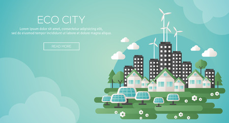 eco power: Green eco city and sustainable architecture banner. Vector illustration. Buildings with solar panels and windmills. Happy clean modern city. Save the planet. Creative concept of Eco Technology.