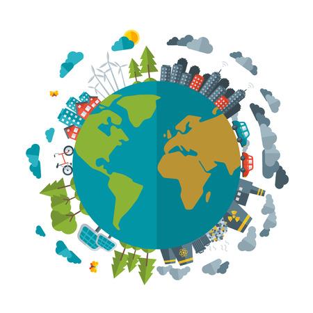 contaminacion aire: Eco friendly, concepto de energ�a verde, vector plana ilustraci�n. La ciudad de la energ�a solar, la energ�a e�lica. Ciudad sucia, las f�bricas, la contaminaci�n del aire, los vertederos. Plantas at�micas. Excepto el concepto del planeta. D�a De La Tierra. Vectores