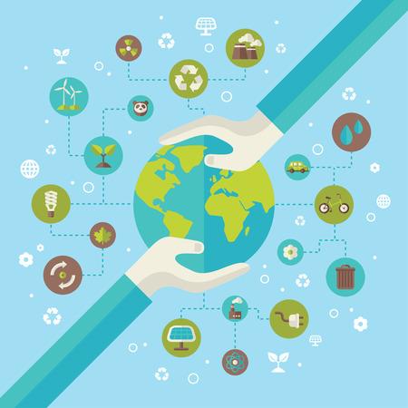 planeten: Ökologie Netzwerk-Anschluss-Konzept mit Händen halten Erde. Vektor-Illustration. Umweltinfografiken Vorlage mit Kreise und flache Ikonen. Umweltschutz. Gehen Grün. Retten Sie den Planeten.