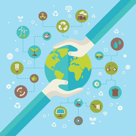 Ecology network connection concept with hands holding Earth. Vector illustration. Environmental infographics template with circles and flat icons. Environmental protection. Go green. Save the planet. Vettoriali