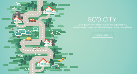 environmental conservation: Flat Design Vector Illustration Concept of Ecology. Landscape with Buildings, Electric Cars and Nature Ecology Elements, Solar Panels, Wind Turbines. Eco City Map. Go Green. Save the Earth. Earth Day. Illustration