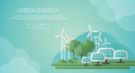 electricidad: Ecología Concepto Plantilla Banner en Flat Design. Ilustración del vector. Paneles solares y turbinas de viento - Tecnología de Energía Verde. Ecología, Medio Ambiente y Contaminación. Salvar la Tierra. Piensa Verde.