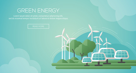 green button: Ecology Concept Banner Template in Flat Design. Vector Illustration. Solar Panels and Wind Turbines - Green Energy Technology. Ecology, Environment and Pollution. Save the Earth. Think Green.