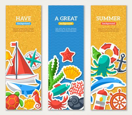 barco pirata: Banderas del verano con símbolos marinos. Ilustración del vector. Me encanta el verano. Concepto del verano. Deporte de ocio de mar. Playa de arena de textura