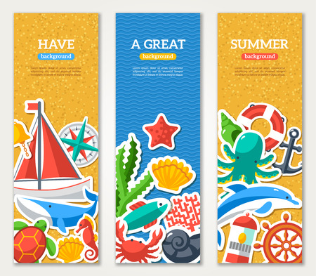 captain ship: Summer Banners with marine symbols. Vector illustration. I love summer. Summer concept. Sea leisure sport. Beach sand texture Illustration