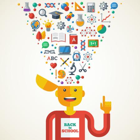 matemáticas: Concepto creativo de Educaci�n. Ilustraci�n del vector. Muchacho con los iconos de la escuela y S�mbolos en la cabeza. De vuelta a la escuela. Aprender Proceso Creativo. Vectores