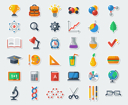 Flat School Icons Vector Collection. High School Object and College Education Items with Teaching and Learning Symbols. Studying and Educational Elements. Back to School.  イラスト・ベクター素材