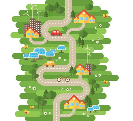 Flat Design Vector Illustration Concept of Ecology. Landscape with Buildings, Electric Cars and Nature Ecology Elements, Solar Panels, Wind Turbines. Eco City Map. Go Green. Save the Earth. Earth Day. Illustration