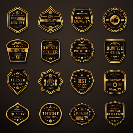 Set van Retro Gold en Black Premium kwaliteit Badges en Labels. Vector Illustratie. Kwaliteitsgarantie. Beste keuze, beste prijs, Oorspronkelijke product, geld terug garantie. Authentieke product.