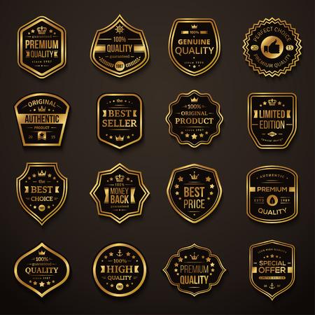 Set von Retro Gold und Schwarz Premium Qualität Abzeichen und Etiketten. Vektor-Illustration. Qualitätsgarantie. Beste Wahl, bester Preis, Original-Produkt, Geld zurück Garantie. Authentisches Produkt.