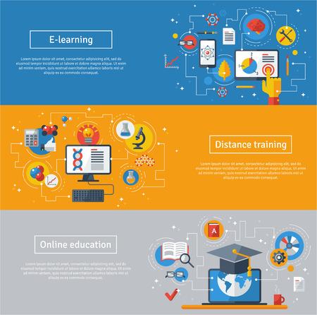교육: 교육과 온라인 학습의 플랫 디자인 벡터 일러스트 레이 션 개념입니다. 온라인 교육 과정, 원격 교육, 전자 학습. 노트북, 컴퓨터, 졸업 모자와 웹 배너입니다.