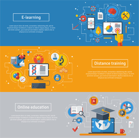 computer training: Flat design vector illustration concepts of education and online learning. Online training courses, distance training, e-learning. Web banners with laptop, computer, graduation hat.
