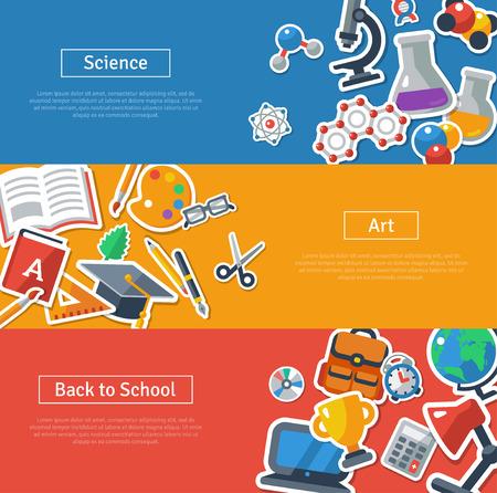 교육의 플랫 디자인 벡터 일러스트 레이 션 개념입니다. 학교 스티커와 함께 가로 배너. 과학, 예술, 다시 학교로. 웹 배너 및 홍보 자료에 대한 개념.