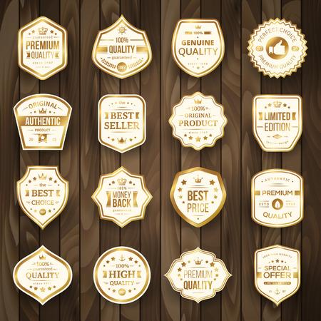 Ensemble d'insignes de qualité Premium rétro or et étiquettes sur fond en bois. Illustration vectorielle Qualité garantie. Meilleur choix, meilleur prix, produit original, garantie de remboursement. Produit authentique. Banque d'images - 40922298