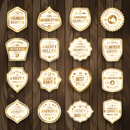 prices: Set of Retro Gold Premium Quality Badges and Labels on Wooden Background. Vector Illustration. Quality Guarantee. Best Choice, Best Price, Original Product, Money Back Guarantee. Authentic Product. Illustration