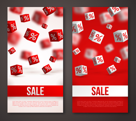 discount banner: Sale Vertical Banners or Flyers Set. Vector Illustration. Design Template for Holiday Sale Events. 3d Cubes with Percents. Original Festive Backdrop.