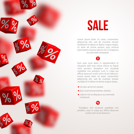 reduce taxes: Sale poster. Vector illustration. Design template for holiday sale event. 3d red cubes with percents. Original festive backdrop. Illustration