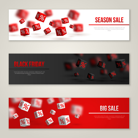 red black: Sale Horizontal Banners Set. Vector Illustration. Design Template for Holiday Sale Events. 3d Cubes with Percents. Original Festive Backdrop. Black Friday.