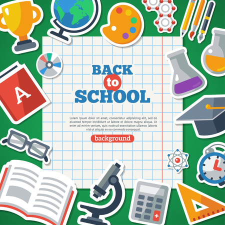 craft supplies: Back To School Background With Flat Icon Stickers Set. Vector Flat Illustration. Notebook  Sheet with School Objects Around. Illustration
