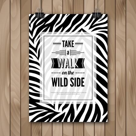 zebra: Cita inspirada ilustración vectorial Cartel. Fondo de madera. Cartel que cuelga en los clips de papel. Modelo de la cebra de Animales Salvajes