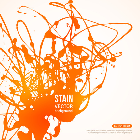 spilled paint: Splatter Paint Banner. Vector Illustration. Hot Summer Painted Background with Orange Acrylic Paint Splash.
