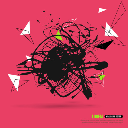 paint drop: Abstract Background with Hipster Geometric Shapes and Ink Splatter, Black Paint Drop. Vector Illustration. Creative Book Cover or Brochure Design.