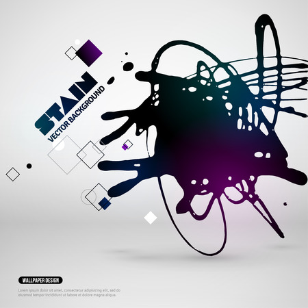 ink spill: Splatter Paint Banner. Vector Illustration. Black Painted Background with Acrylic Paint Splash and Geometric Shapes. Creative Banner or Poster Design. Place for Your Text.