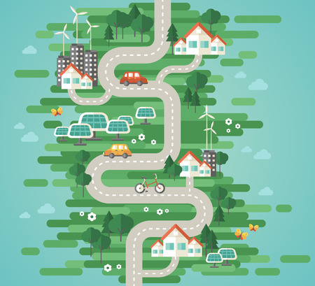 Flat Design Vector Illustration Concept of Ecology. Landscape with Buildings, Electric Cars and Nature Ecology Elements, Solar Panels, Wind Turbines. Eco City Map. Go Green. Save the Earth. Earth Day.