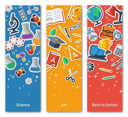 교육: 위로 플랫 스티커 아이콘 학교 수직 BannersSet에. 벡터 평면 그림. 예술과 과학 스티커. 교육 개념. 학교로 돌아가다. 웹 배너 및 홍보 자료에 대한 개념. 일러스트
