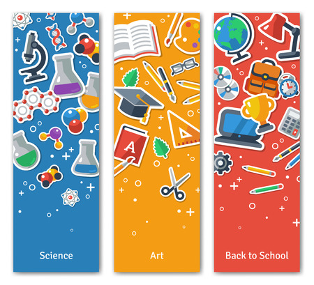 教育: 回到學校立式BannersSet扁平貼圖標。矢量插圖平。藝術與科學貼紙。教育理念。回到學校。概念網頁橫幅和宣傳材料。 向量圖像