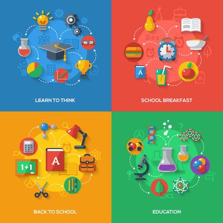 フラット アイコンでの学校のコンセプトです。ベクトル フラット イラスト。芸術と科学のステッカー。学校に戻ると思う、学校朝食教育概念を学  イラスト・ベクター素材