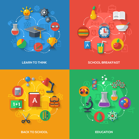 Back To School Concept With Flat Icons. Vector Flat Illustration. Arts and Science Stickers. Back to school, Learn to Think, School Breakfast, Education Concept.