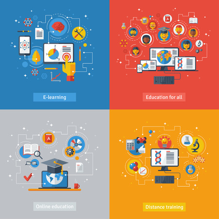 교육: 교육과 온라인 학습의 플랫 디자인 벡터 일러스트 레이 션 개념입니다. 온라인 교육 과정, 원격 교육, 전자 학습. 노트북, 컴퓨터, 전화, 책, 졸업 모자와 개념.