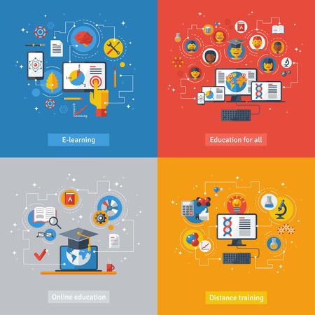 Platt design vektor illustration begreppen undervisning och online-lärande. Online kurser, distansutbildning, e-lärande. Begrepp med laptop, dator, telefon, bok, examen hatt. Illustration