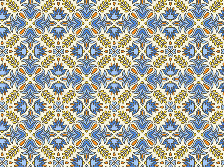 mediterranean: Mediterranean Traditional Floral Decor. Vector Illustration. Eastern Seamless Pattern, Vintage Background. Endless texture for printing onto fabric and paper or scrap booking.