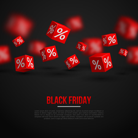 discount banner: Black Friday Sale Poster. Vector Illustration. Design Template for Holiday Sale Event. 3d   Cubes with Percents. Original Festive Backdrop.