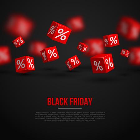 preto: Black Friday Sale Poster. Ilustração do vetor. O projeto do molde para Holiday Sale Evento. Cubos 3d com por cento. Imagem de Fundo festivo original. Ilustração