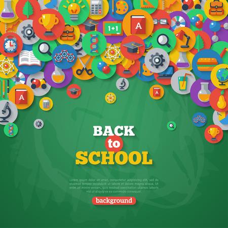 espalda: Volver a fondo de la escuela. Ilustración del vector. Iconos de la escuela Piso en círculos en la pizarra con textura de fondo. Concepto de educación. Artes y las Ciencias. Vectores